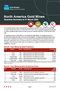 North American Gold Mines Quarterly Summary to 31 March 2020