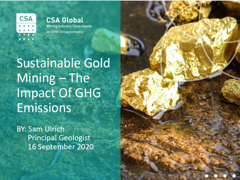 Sustainable Gold Mining – The Impact of GHG Emissions