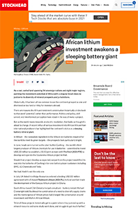 African Lithium Investment Awakens A Sleeping Battery Giant