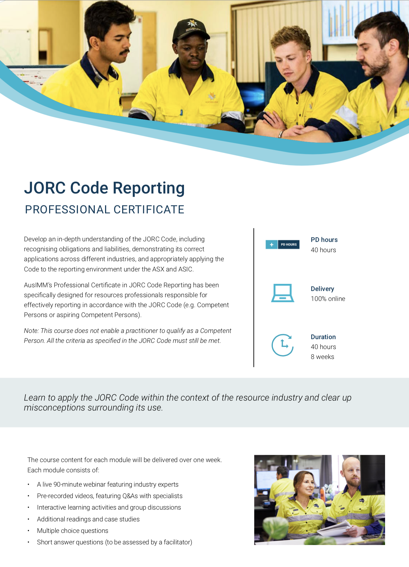 JORC Code Reporting Professional Certificate