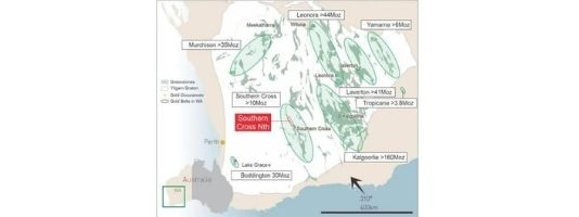 Map of Yilgarn Craton and Southern Cross Greenstone Belt