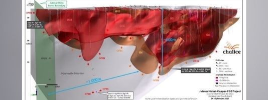 Gonneville Intrusion 3D View (looking East-South-East) – new key drill results and high-grade zones.